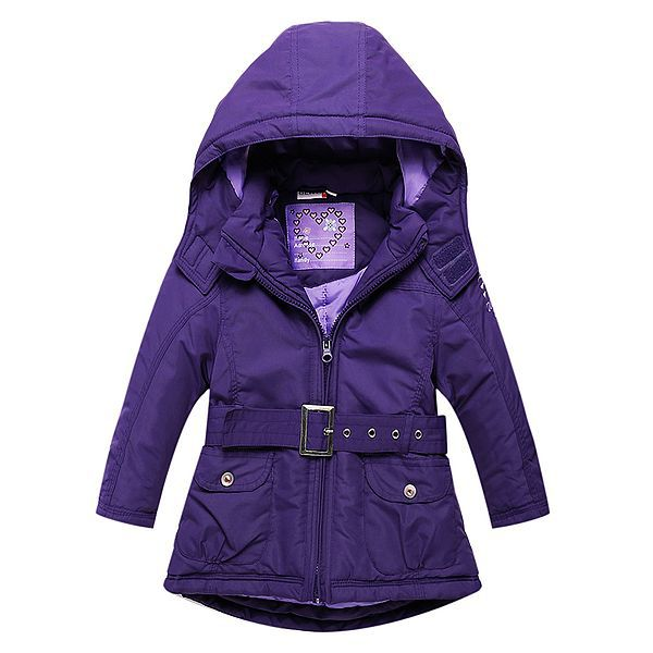 Girls Jacket with Sashes Cotton-padded Girls Winter Coat Brand Hooded Wind-proof Kids Winter Jacket Children Outerwear - KiddyLanes
