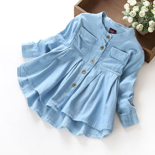 New Spring Girls blouses&Shirts denim Baby Girl Clothes Casual Soft Fabric Children Clothing Kids girls blouse Shirt - KiddyLanes