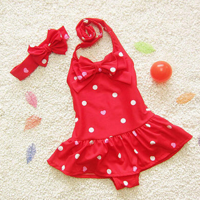 Hot New 1 to 8 years Bikini Baby Girls Spa Skirt Children Siamese Swimsuit Swimwear Cute Kid Bathing Suits Plus a Headband - KiddyLanes