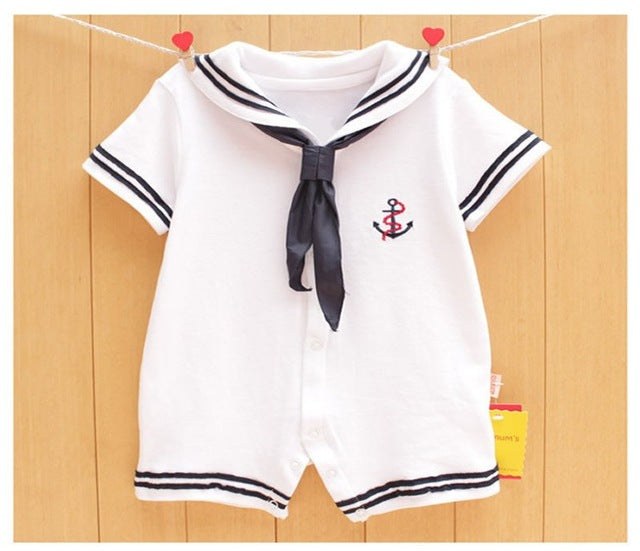 Unisex Baby Jumpsuits| White Navy Sailor Uniform Type Romper - KiddyLanes