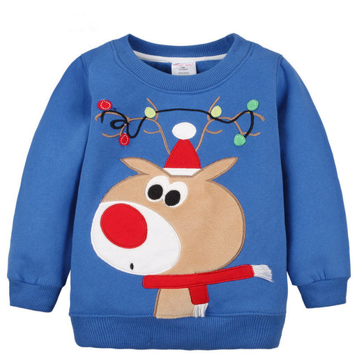 1-5Y Children Hoodies Girls Red Christmas Reindeer fleece thick Hoodie Boy Baby Thick Sweatshirts Kid's Cartoon Sweater 1014 03 - KiddyLanes