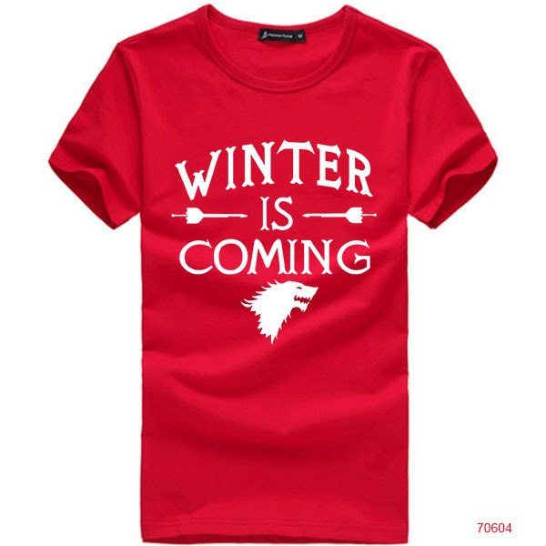 Hip Hop Men Tee Shirt Printed Game of Thrones Winter Is Coming T Shirts Casual Mens Tops Wholesale Man Clothing Hot