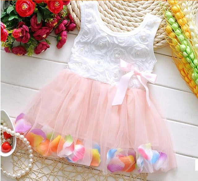 Summer New Cotton Baby Infant Fairy Tale Petals Colorful Dress Chiffon Princess Newborn Baby Dresses Gift - KiddyLanes