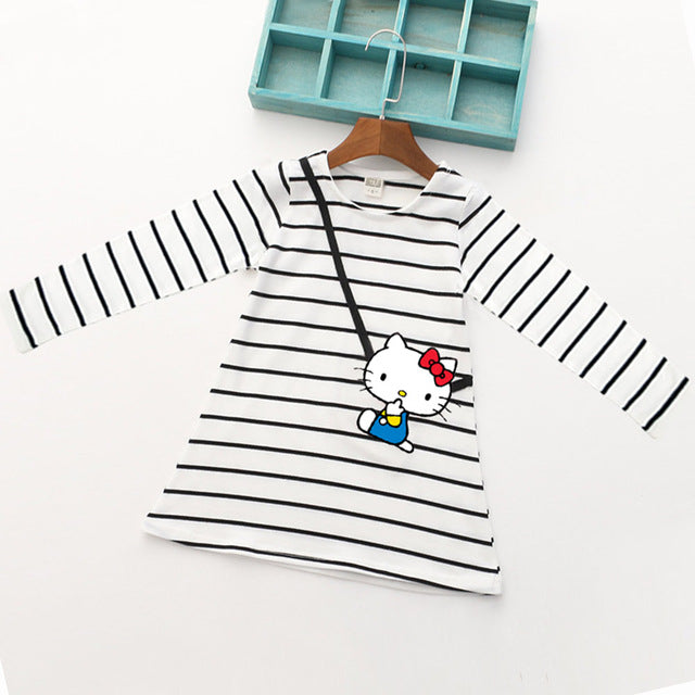 Cartoon Lovely Pink Pig Baby Girl Dress Long Sleeve Striped Kids Dresses Cotton Children Clothing Hot Sale - KiddyLanes