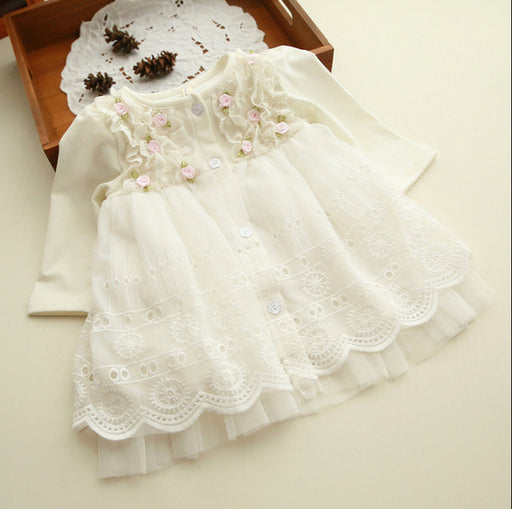 Spring and autumn 0-2 yrs baby clothing floral lace lovely princess newborn baby tutu dress infant dresses vestido infantil - KiddyLanes