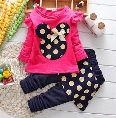 Girls clothes Baby Girl Clothing Set Children Flower Bow Cute Suit 2PCS Kids Twinset Top T Shirt +Plaid Pants Leggings - KiddyLanes