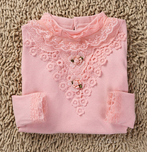 Girls Lace Shirt Kids Autumn Lace Blouses Long Sleeve Children's Shirts Flower Tops Winter Shirts For School Girls 2~12Y - KiddyLanes