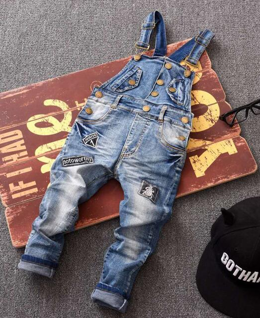 Classic spring autumn children's overalls infant soft denim bib pants boy OR girl jeans casual trousers,Button patch jeans 2-7yr - KiddyLanes