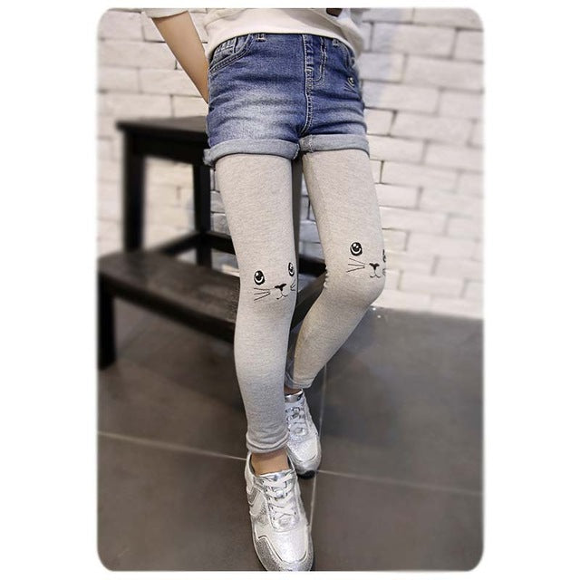 False two-piece Cat Embroidery Kids Jeans Spring Autumn High Quality Patchwork  Children Pants Casual trouses Baby Girls Jeans - KiddyLanes