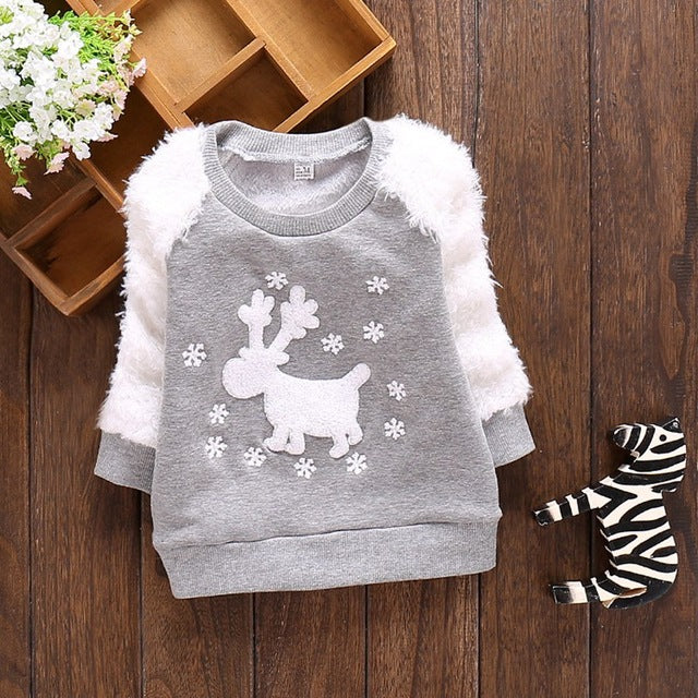 Casual Autumn Winter Baby Girls Long Sleeve Loose Cute Deer Snowflake Plus Velvet Tops T-shirts MT246 - KiddyLanes
