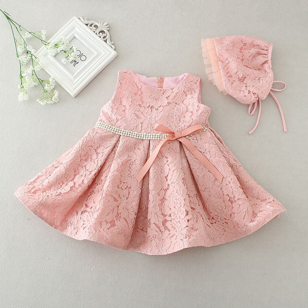 Newborn Baby Girl Dresses with Cap Super Back Bow Diamand Belt Baby Christening Gowns 1 year birthday dress vestido infantil - KiddyLanes