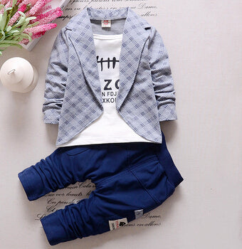 Baby Boys Autumn Casual Clothing Set Baby Kids Button Letter Bow Clothing Sets Babe jacket + pant 2-Piece Suit Set - KiddyLanes