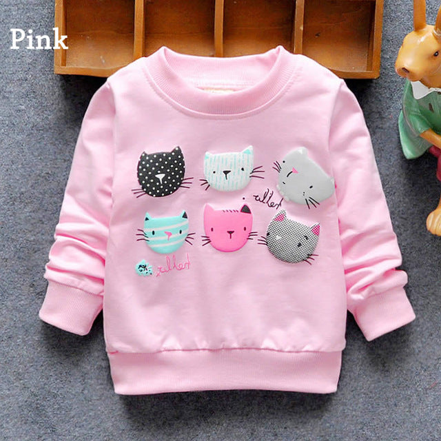 Fashion New Arrival Baby Girls T-shirt Spring Autumn Winter 6 Cats lovely long sleeve  Character baby kids clothes - KiddyLanes
