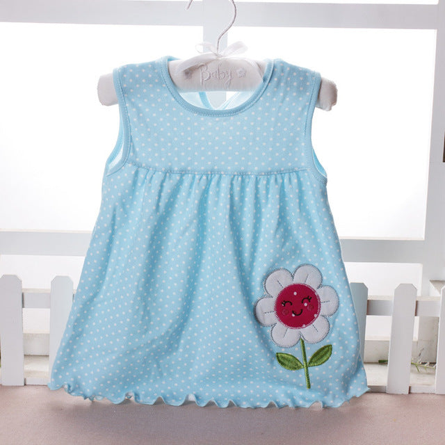 New Summer Cute Baby Girl 100% Cotton Newborn Infant Baby Princess Casual Dress 0-18 Months Baby Clothes Lovely Cartoon - KiddyLanes