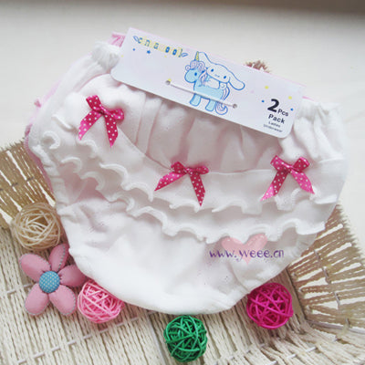 2 piece/lot Baby Clothing cotton Wood ear Bow Pink and white Girl Underwear 0-2 years old Newborn  baby girl shorts Underwear - KiddyLanes