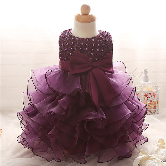 1 Year Birthday Outfit Dress For Girl Party Wear Baby Girl Wedding Purple Dress Newborn Christening Gown Infant Holiday Costume - KiddyLanes