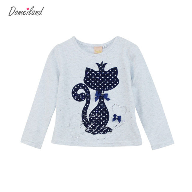 Girl Clothes Print Rhinestone Cat  Bow Long Sleeve T Shirts Elastic Spandex baby Clothing - KiddyLanes