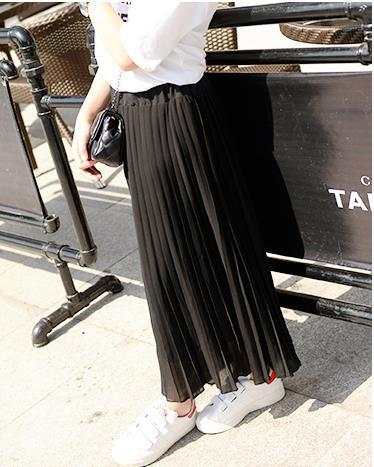 Kids Girls Pleated Chiffon Long Skirts New Summer Children Hem Skirts for Girls Bohemian Skirt Black Pink White Maxi Skirts - KiddyLanes