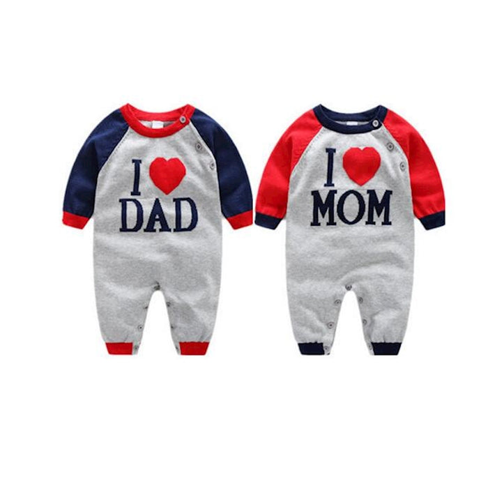 100% Cotton Sweater Newborn I love Dad Mom Letter Coat Toddler one-piece Romper Boys Girl Outwear for Children - KiddyLanes