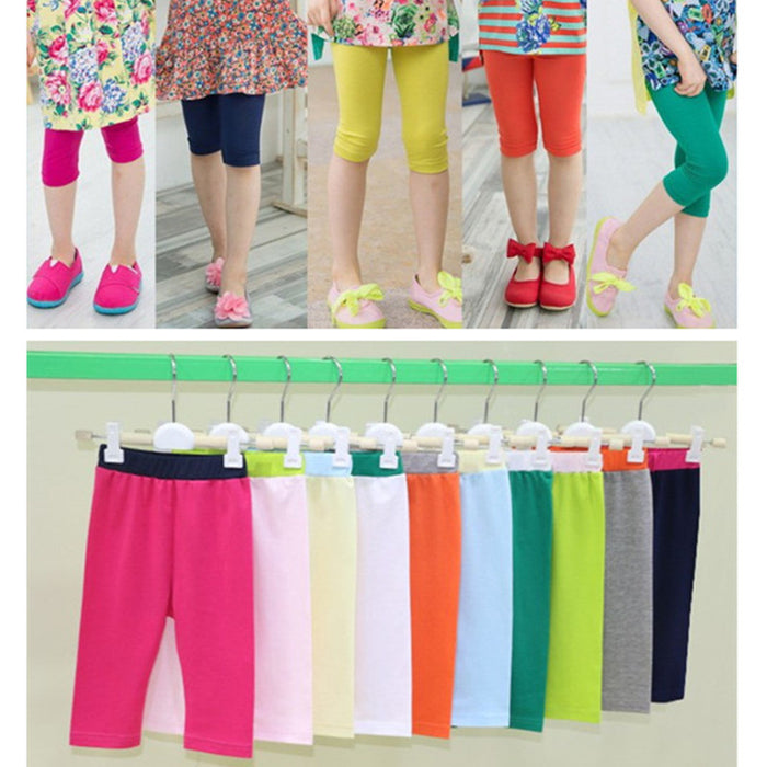 kids girls summer sweet candy color solid modal legging children girl casual cute soft capris leggings clothing - KiddyLanes