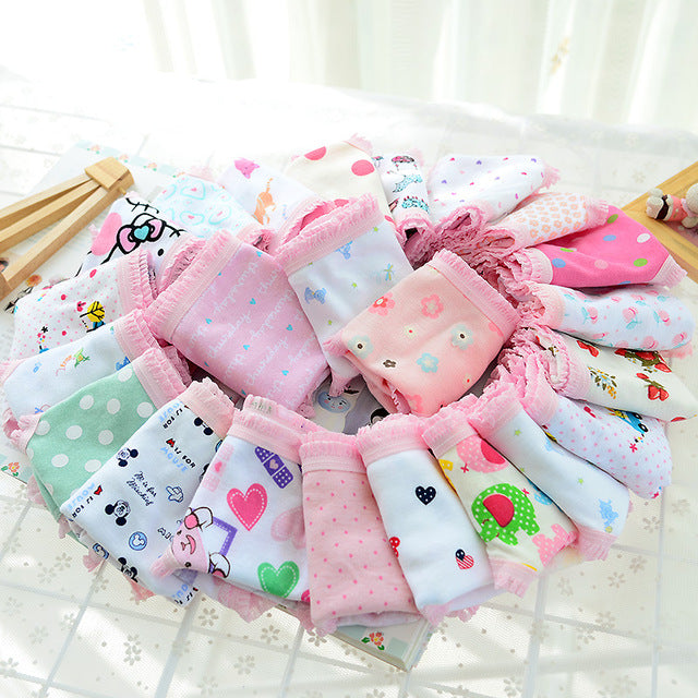 3pcs COTTON Baby Girls Underwear Panties Girls Infant Baby Pants Cute Girls Underwear Mixed Color Cueca Infantil Toddler Girls - KiddyLanes