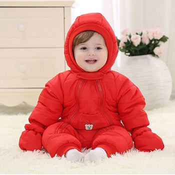 Winter baby rompers infant Down hot boy girl thicken jumpsuits down's outwears jumpsuit for baby snowsuits winter clothes - KiddyLanes