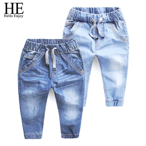 HE Hello Enjoy Girls jeans pants spring Autumn 2017 children's clothing jeans blue trousers casual pants Baby Children Pants - KiddyLanes