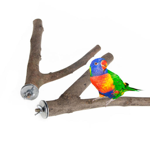 1Pc Pet Parrot Raw Wood Fork Stand Rack Toy Hamster Branch Perches For Bird Cage - KiddyLanes