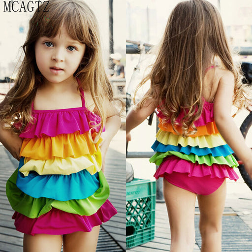 Children's Swimwear  Baby Girls Swimsuit Rainbow Colour Cute Swimsuit Bathing Suit Lotus leaf conjoined bathing suit - KiddyLanes