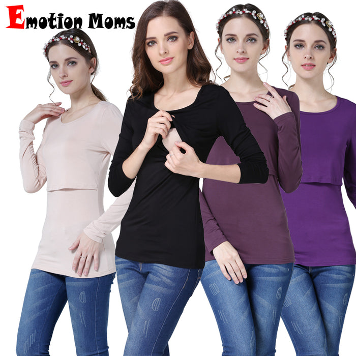 43d7af9d177fb Emotion Moms Modal Long Sleeve Maternity clothes Nursing Top Breastfeeding  Tops for Pregnant Women Fashion Maternity