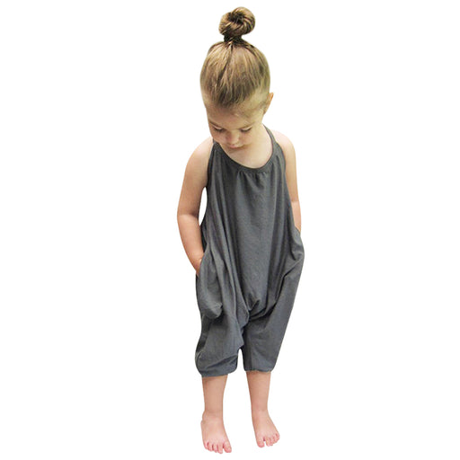 Summer Kids Children Girls Jumpsuits Grey Overalls Jumpsuits Bodysuits Baby Girls Suspender Sunsuits Outfit Clothes - KiddyLanes