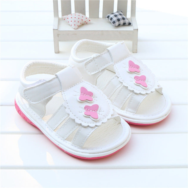 218931d0f Summer Baby Girls Sandals Shoes PU Leather Butterfly Squeaky Toddler Infant  Children Kids Shoes Hot sandalias