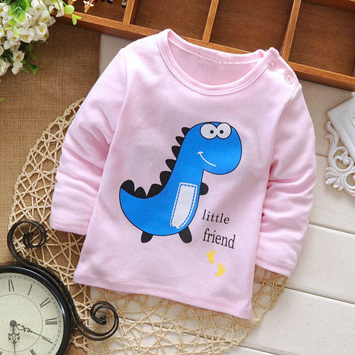 New spring Autumn baby's boys Kids Girls Cartoon dinosaur letters printing long-sleeve o-neck Tops basic t-shirt MT439 - KiddyLanes