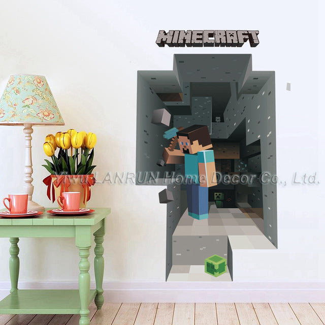 New Minecraft 3D Wall Sticker For Kids Room Wallpaper Home Decoration Game Minecraft Enderman Wall Stickers