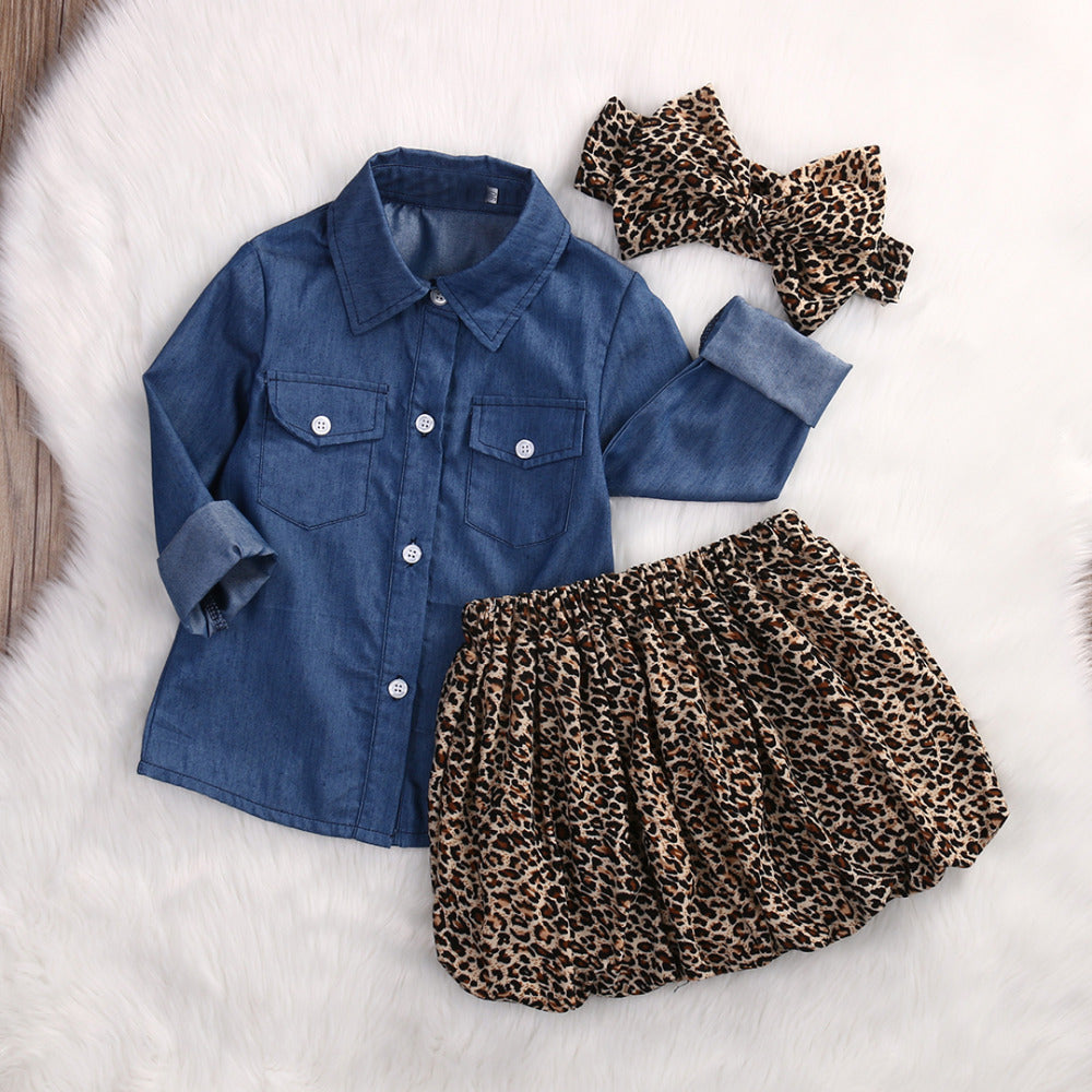 3PC Toddler Baby Girls Outfits Denim Shirt+Leopard Skirt+headband Fashion Kids Girls Clothes set - KiddyLanes
