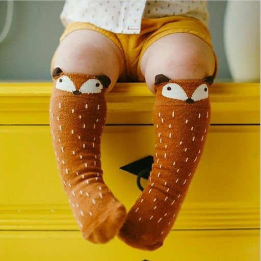 1 Pair Unisex Lovely Cute Cartoon Fox Kids baby Socks Knee Girl Boy Baby Toddler Socks animal infant Soft Cotton socks 0-3 Y - KiddyLanes