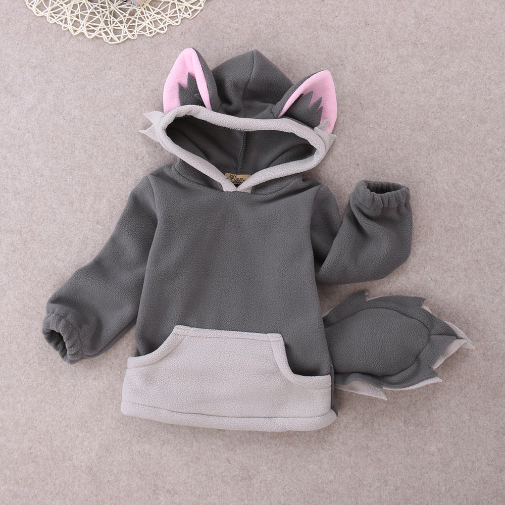 Cartoon Fox Baby Boys Girls Kids Coat Hoodie Jacket Sweater Pullover Outwear Polar Fleece Cartoon Hoodie Coat Warm Fox Jacket - KiddyLanes