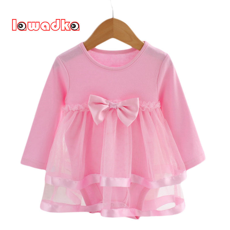 Lawadka Cotton Bow New Born Baby Dress with Baby Rompers Soft Baby Girls Infant Clothes Jumpsuit - KiddyLanes