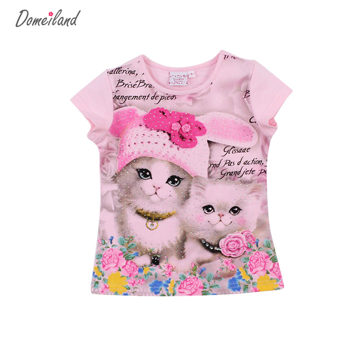 Girl short sleeve print 3d cat cotton t shirts tops baby clothes - KiddyLanes