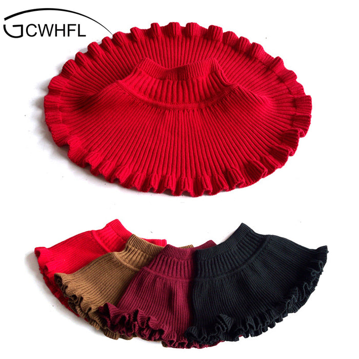 New Winter Cute Solid Child Ruffles High Stretch Knit Skirt Girls A-Line Mini Half-Length Princess Skirt - KiddyLanes