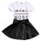 2PCS Toddler Kids Baby Girls Clothes Short Sleeve Letter T-shirt Tops+PU Skirts Dress Outfits Set - KiddyLanes