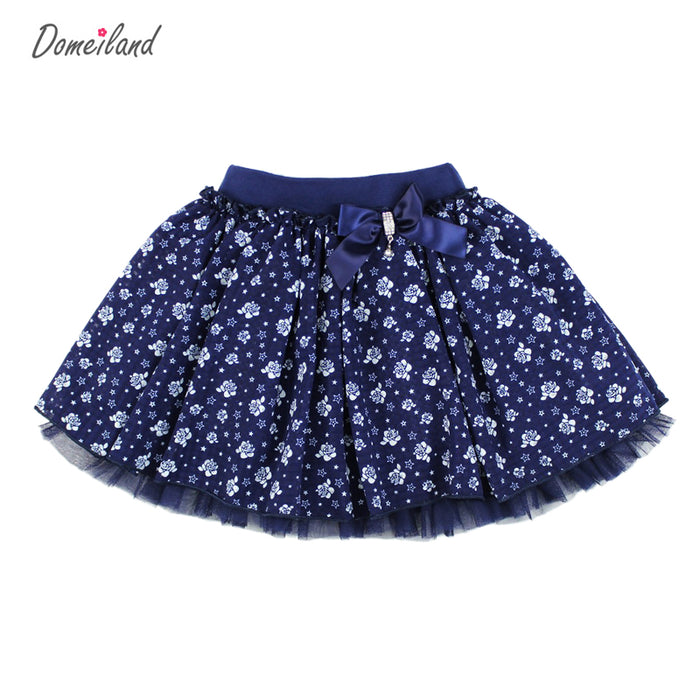 Fashion domeiland Summer clothing Children Girl Cute baby kid print floral Tutu cotton Skirts Chiffon Bow lace princess - KiddyLanes