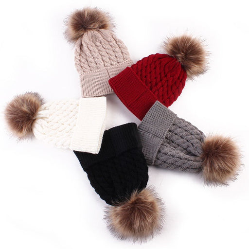 1PC Cute Winter Mom Women Baby Kids Girl Boy Newborn Crochet Knitted Hats Skull Caps Wool Fur Ball Pompom Beanies Hat - KiddyLanes
