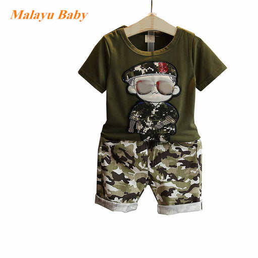 Summer Children Boy Clothes 2017 new Sets Kids 2pcs Short Sleeves T-Shirt Toddler Suits Camouflage Shorts Child Clothing Suits - KiddyLanes