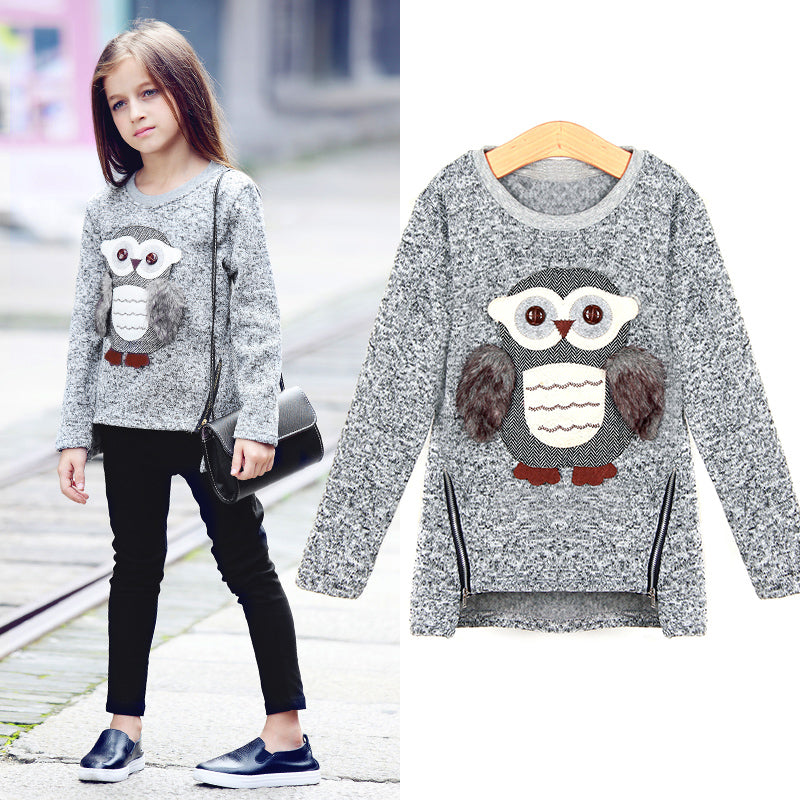 Girls Fleece Lined Zipper sweater Cartoon Cute Owl Casual Cotton Girls Winter Clothes girls sweater for 6 7 8 9 10 12 14 years - KiddyLanes