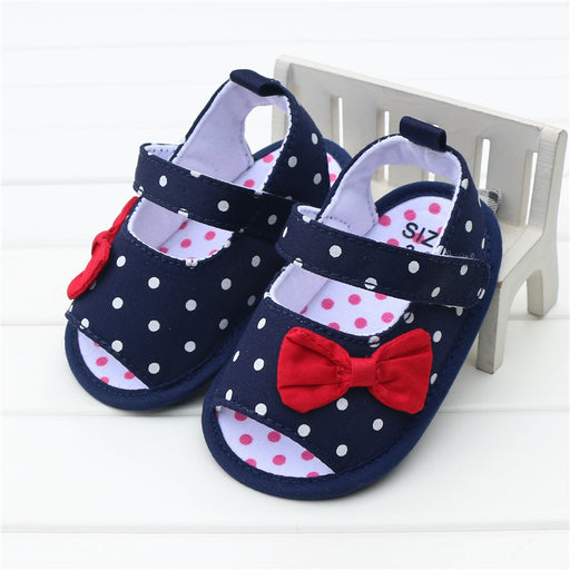 Baby Girl Sandals Shoes Bowknot Polka Dots Blue Denim Jeans Bow Summer Toddler Girl Shoes Infant Sandals sandalia infantil - KiddyLanes