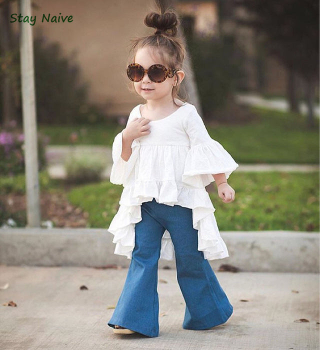 Stay Naive new fashion girl clothing children's clothing fairy tale style bamboo cotton casual jacket + jeans suit - KiddyLanes