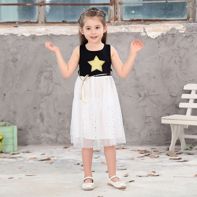Xunqicls 3-10Y Baby Girls Sequins Dress Star Printed with Belt Sleeveless Princess Party Kids Dresses - KiddyLanes