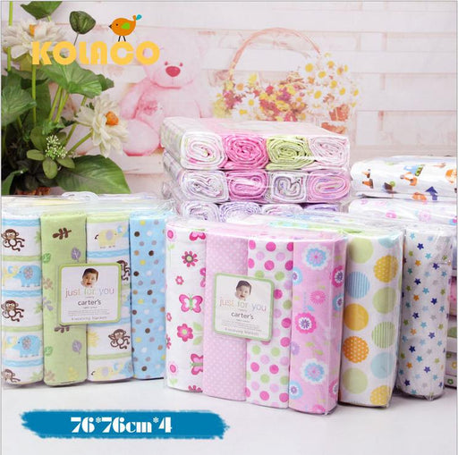 4pcs Baby Bedding Set Cute Printing Crib Sheet Multi-Functional Baby blanket cotton swaddle Kids Sheets Bed Crib Single Sheets - KiddyLanes
