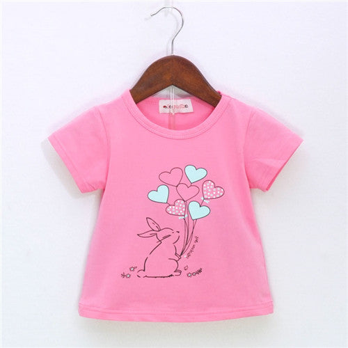 Rabbit Balloon Pattern Sport Baby Girls T-shirt - KiddyLanes